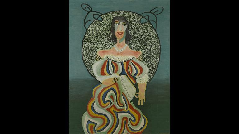 "Pauline Simon (American, 1898-1976), ""Untitled (woman with book),"" 1968. Collection of Karl Wirsum and Lorri Gunn."