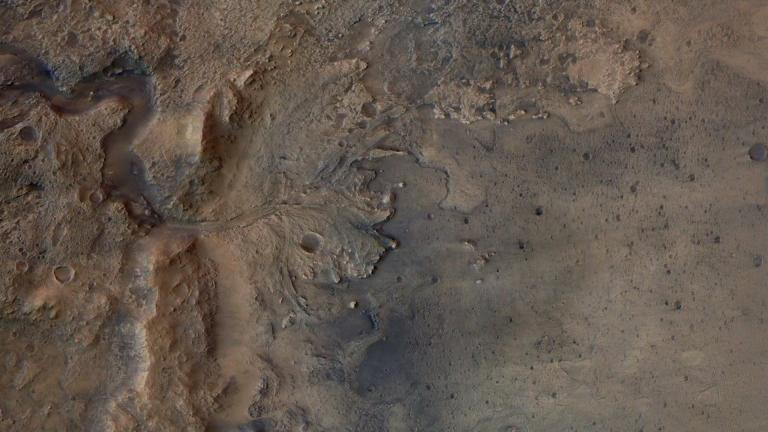 This Sept. 21, 2020 image shows the remains of an ancient delta in Mars' Jezero Crater, which NASA's Perseverance Mars rover will explore for signs of fossilized microbial life. The image was taken by the high resolution stereo camera aboard the ESA (European Space Agency) Mars Express orbiter. (ESA/DLR/FU-Berlin)