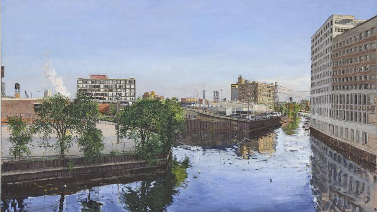A painting of a fork in the Chicago River by Andy Paczos. (Photo by Dimitre Photography, Chicago)