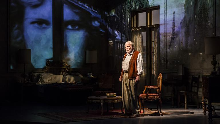 "Stacy Keach in the world premiere of Jim McGrath's ""Pamplona,"" directed by Robert Falls at Goodman Theatre. (Credit Liz Lauren)"