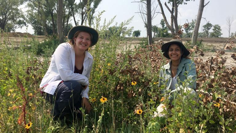 Lauren Umek of the Park District and research assistant Alifya Saify at Big Marsh Park. (Courtesy of Chicago Park District)
