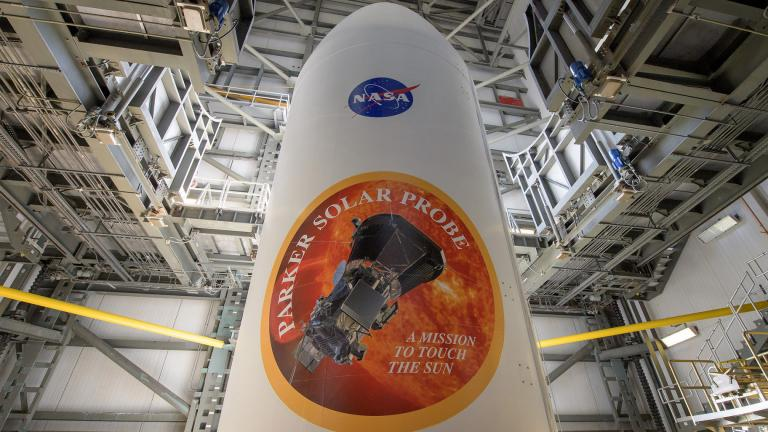 Prior to its August 2018 launch, NASA's Parker Solar Probe is packed safely inside the United Launch Alliance Delta IV Heavy rocket payload fairing. (Credit: NASA / Bill Ingalls)