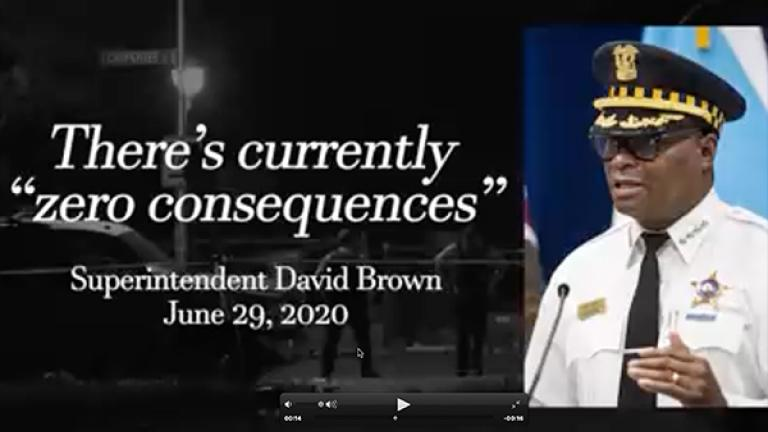 A screenshot from a campaign ad from former Cook County Judge Pat O'Brien shows a quoted phrase from Chicago police Superintendent David Brown. (Pat O'Brien for State's Attorney / YouTube)
