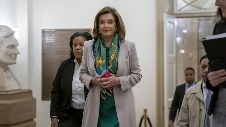 Speaker of the House Nancy Pelosi, D-Calif., arrives to meet with the Democratic Caucus at the Capitol in Washington, Tuesday, Jan. 14, 2020. (AP Photo / J. Scott Applewhite)