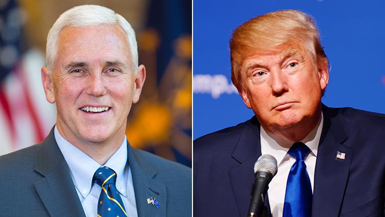 Indiana Gov. Mike Pence, Donald Trump (Trump photo by Michael Vadon / Flickr)