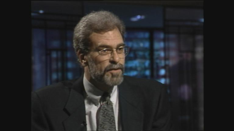 "Bulls Coach Phil Jackson appears on ""Chicago Tonight"" on Oct. 26, 1995. (WTTW News)"