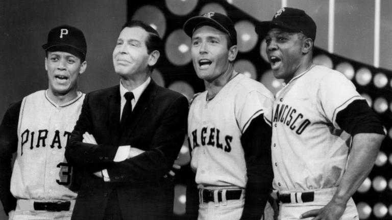 "Photo of Maury Wills, Milton Berle, Jimmy Piersall and Willie Mays in a salute to baseball on the television program ""The Hollywood Palace."""