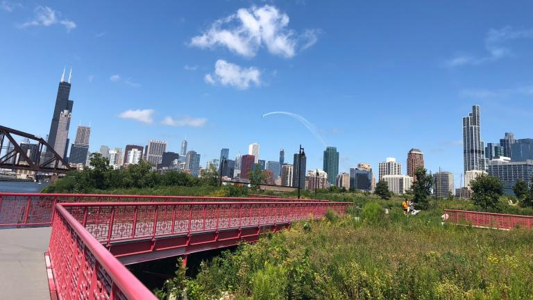 """Ping Tom Park, exemplifying Chicago's motto of """"City in a Garden."""" (Patty Wetli / WTTW News)"""