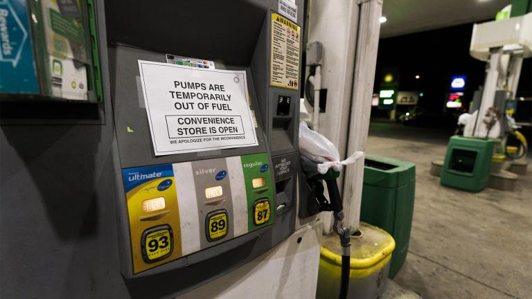 A pump at a gas station in Silver Spring, Md., is out of service, notifying customers they are out of fuel, Thursday, May 13, 2021. (AP Photo / Manuel Balce Ceneta)