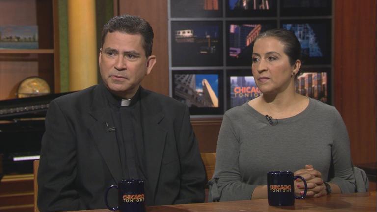 "The Rev. Esequiel Sanchez and Dorelia Rivera appear on ""Chicago Tonight"" on Aug. 13, 2018."