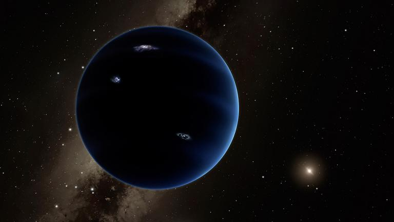 This artistic rendering shows the distant view from Planet Nine back towards the sun. The planet is thought to be gaseous, similar to Uranus and Neptune. Hypothetical lightning lights up the night side. (Caltech/R. Hurt/IPAC)