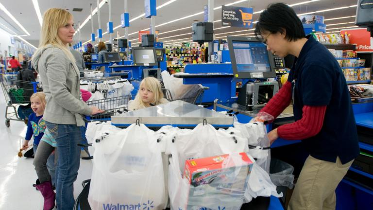 A city ordinance intended to curb disposable bags will go into effect Feb. 1. (Walmart / Flickr)