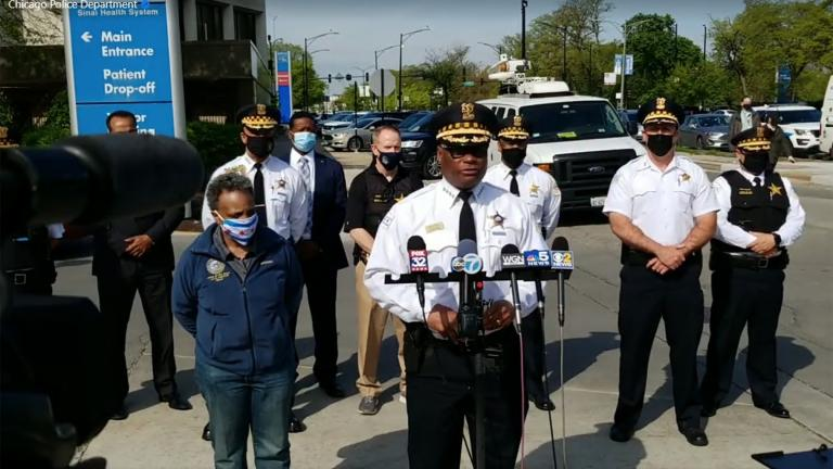 In this image taken from video, Chicago police Superintendent David Brown is joined by Mayor Lori Lightfoot to speak about two officers shot earlier Sunday, May 16, 2021. (Chicago Police Department / Facebook)