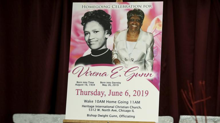 This June 11, 2019 file photo of a poster showing Verona Gunn is displayed during a press conference in Chicago. Gunn was an 84-year-old woman killed last May when two Chicago Police vehicles slammed into a car she was riding in. (AP Photo / Teresa Crawford, File)