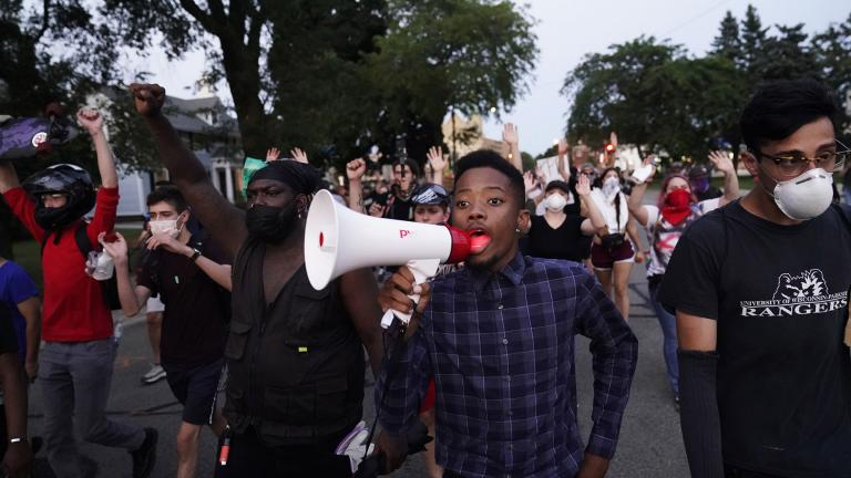 Protesters march against the Sunday police shooting of Jacob Blake in Kenosha, Wis., Wednesday, Aug. 26, 2020. (AP Photo / David Goldman)