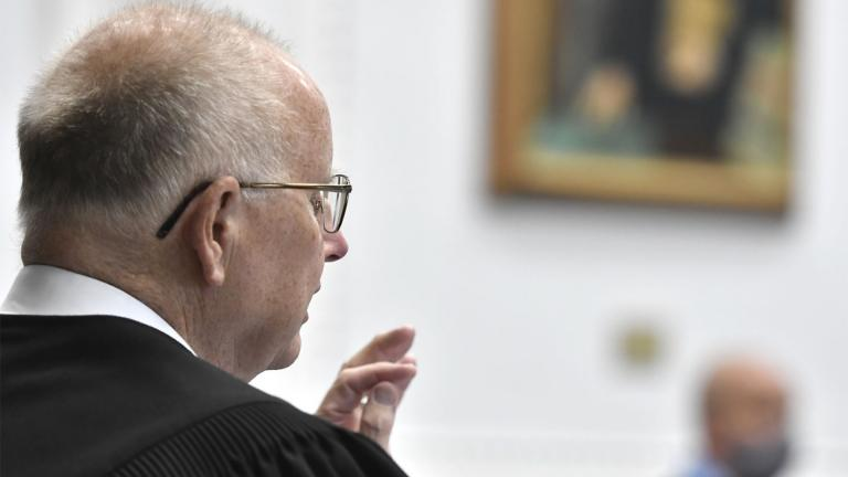 Kenosha County Circuit Court Judge Bruce E. Schroeder speaks during Kyle Rittenhouse's pretrial hearing Friday, May 21, 2021 at the Kenosha County Courthouse in Kenosha, Wis. (Sean Krajacic / The Kenosha News via AP, Pool)