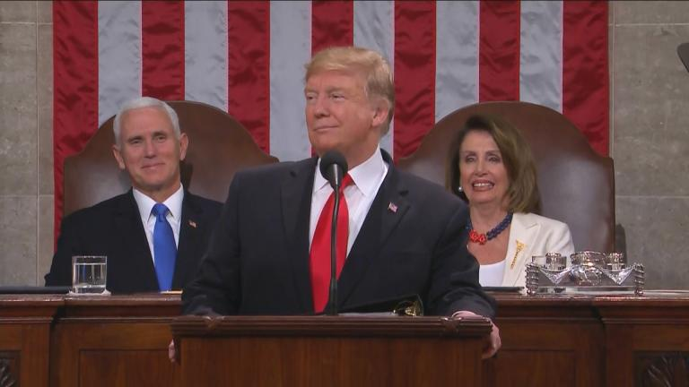 President Donald Trump delivers his State of the Union speech Tuesday, Feb. 5, 2019.