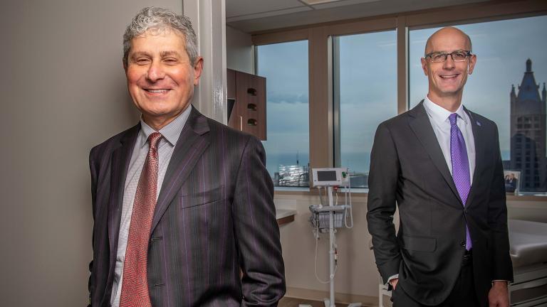 Michael Polsky and Dr. Edward Schaeffer of Northwestern (Courtesy of Northwestern Medicine)
