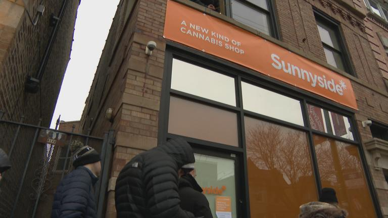 In Lakeview, workers were busy putting the finishing touches on the Sunnyside dispensary just two days before recreational marijuana becomes legal in Illinois. (WTTW News)