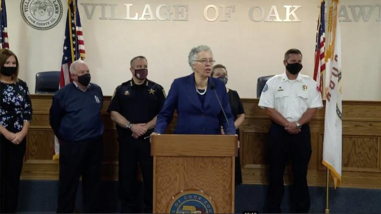 Cook County Board President Toni Preckwinkle talks Tuesday, Sept. 8, 2020 at a press conference in Oak Lawn. (Toni Preckwinkle / Facebook)