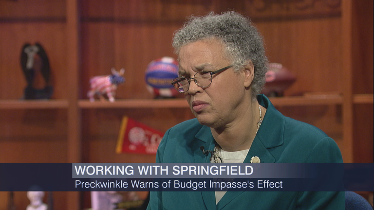 """Toni Preckwinkle appears on """"Chicago Tonight"""" on Feb. 17."""