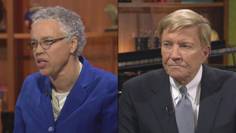 "Cook County Board President Toni Preckwinkle and former Ald. Bob Fioretti appear on ""Chicago Tonight"" in October and November 2017, respectively."