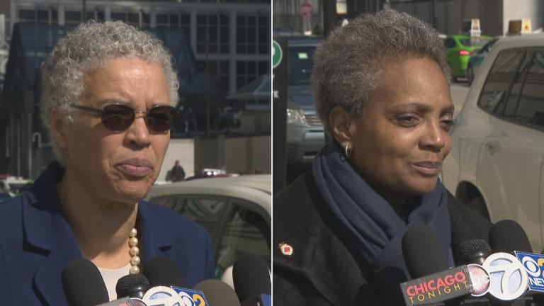 Mayoral candidates Toni Preckwinkle, left, and Lori Lightfoot speak to the media following their meeting with the Chicago Tribune editorial board Tuesday, March 12, 2019. The two will face off in a runoff election on April 2.