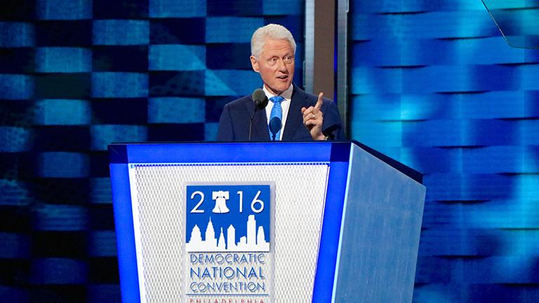 Former President Bill Clinton delivers his speech on the second night of the Democratic National Convention. Evan Garcia / Chicago Tonight)