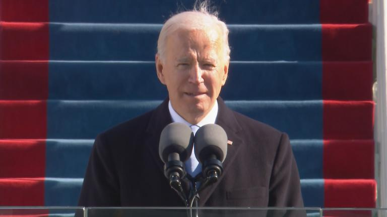 President Joe Biden delivers his first speech as commander in chief on Wednesday, Jan. 20, 2021. (WTTW News via CNN)