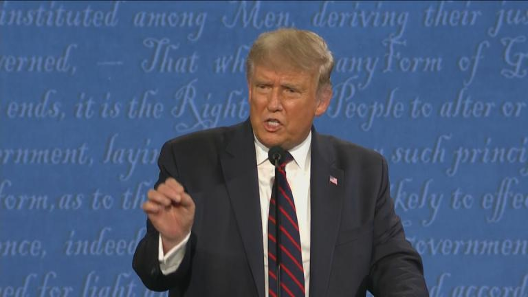 President Donald Trump speaks during the first presidential debate Tuesday, Sept. 29, 2020, at Case Western University and Cleveland Clinic, in Cleveland, Ohio. (WTTW News via CNN)
