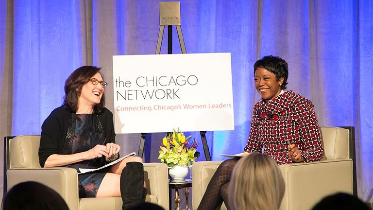 Mellody Hobson, right, speaks with Sally Blount during the Women in the Forefront luncheon on April 15. (Courtesy of The Chicago Network)