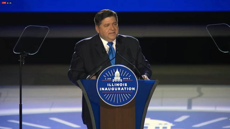 Illinois Gov. J.B. Pritzker delivers his inauguration speech in Springfield on Jan. 14, 2019.