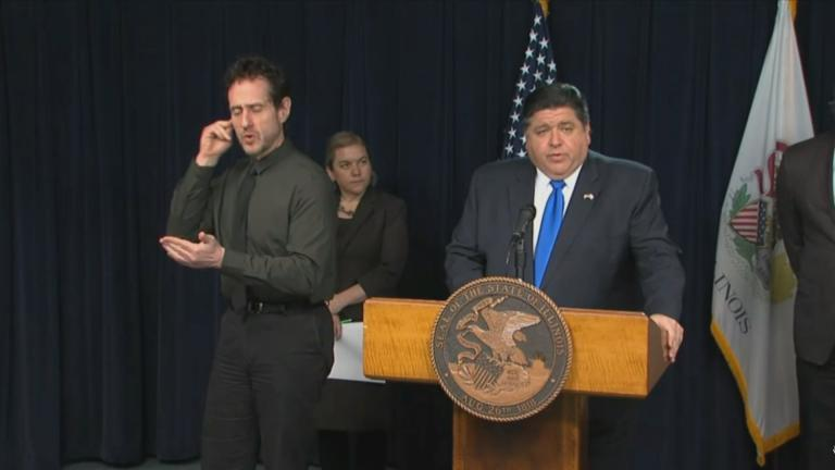 Gov. J.B. Pritzker announces the first novel coronavirus death in Illinois on Tuesday, March 17, 2020.