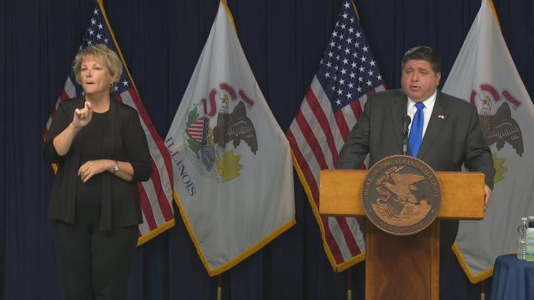 Gov. J.B. Pritzker gives an update on the coronavirus on Wednesday, Sept. 23, 2020. (WTTW News)