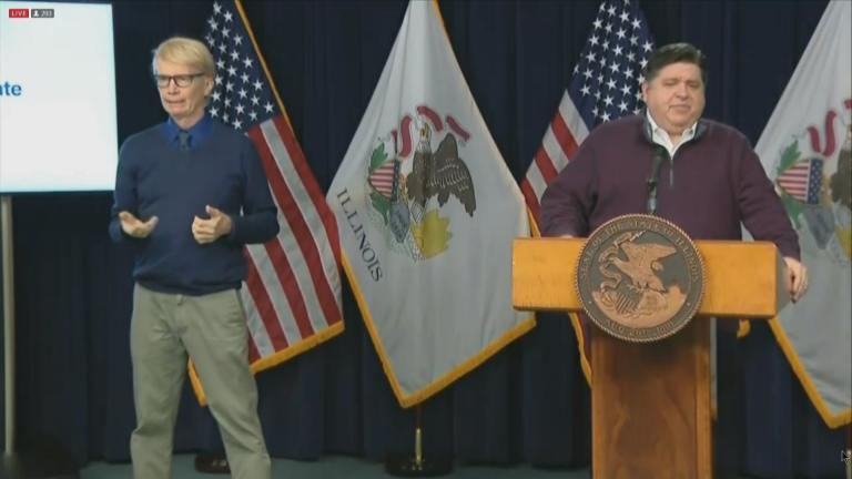 Gov. J.B. Pritzker talks about the state's finances Tuesday, Dec. 15, 2020 during his daily COVID-19 press briefing. (WTTW News)