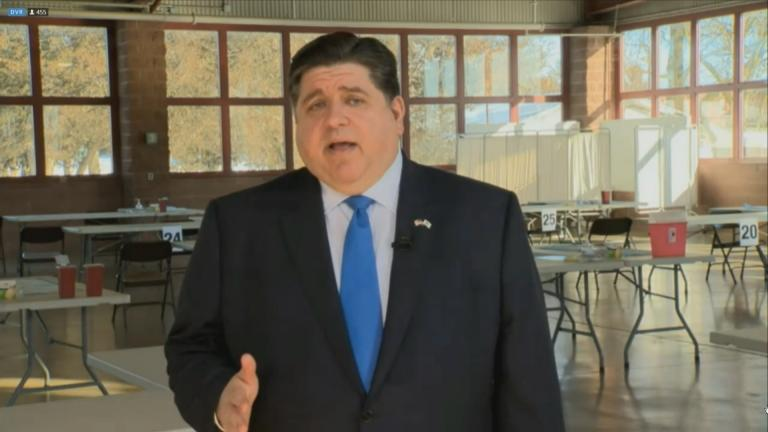 Gov. J.B. Pritzker delivers his budget address Wednesday, Feb. 17, 2021. (WTTW News)