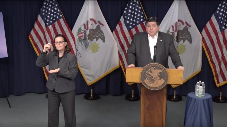 A screenshot from Gov. J.B. Pritzker's daily press briefing on COVID-19 in Illinois on Sunday, April 12, 2020.