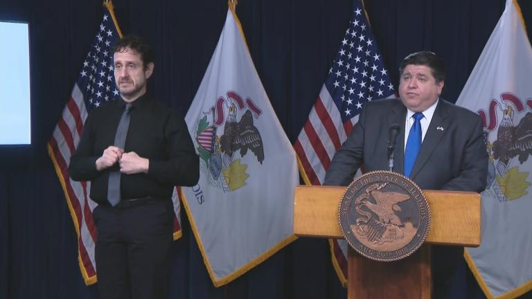 Gov. J.B. Pritzker speaks Tuesday, Dec. 8, 2020 during his daily COVID-19 briefing. (WTTW News)
