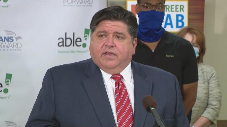 Gov. J.B. Pritzker announces an apprenticeship program expansion on Tuesday, July 14, 2020, in Chicago. (WTTW News)