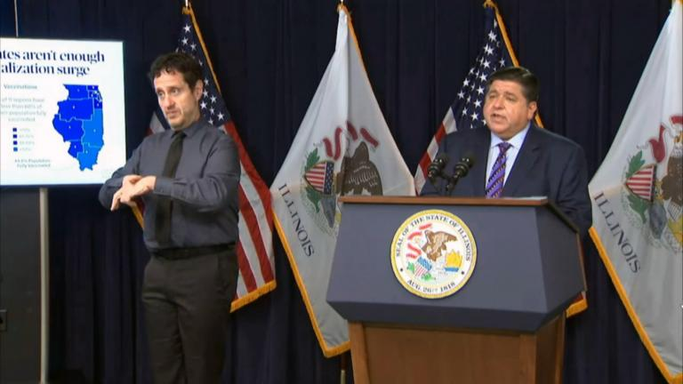 Amid a surge in COVID-19 cases driven by unvaccinated Illinoisans, Governor J.B. Pritzker reinstated an indoor mask mandate and widened the state's vaccination mandate. (WTTW News)