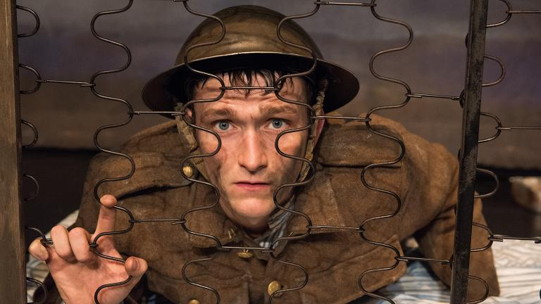 "Shane O'Regan stars in the one-man show ""Private Peaceful."" (Credit: Ahron R. Foster)"