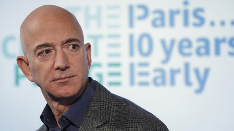 FILE - In this Sept. 19, 2019, file photo, Amazon CEO Jeff Bezos speaks during his news conference at the National Press Club in Washington. (AP Photo / Pablo Martinez Monsivais, File)