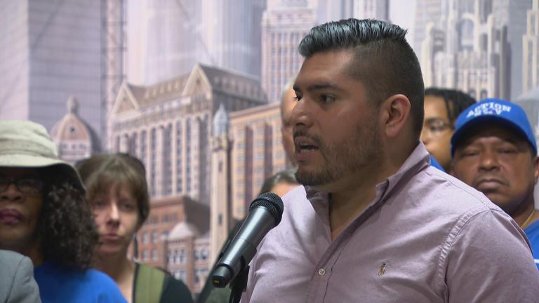 Ald. Carlos Ramirez-Rosa, 35th Ward, speaks with a coalition of progressive and labor groups Tuesday, Sept. 10, 2019. (WTTW News)