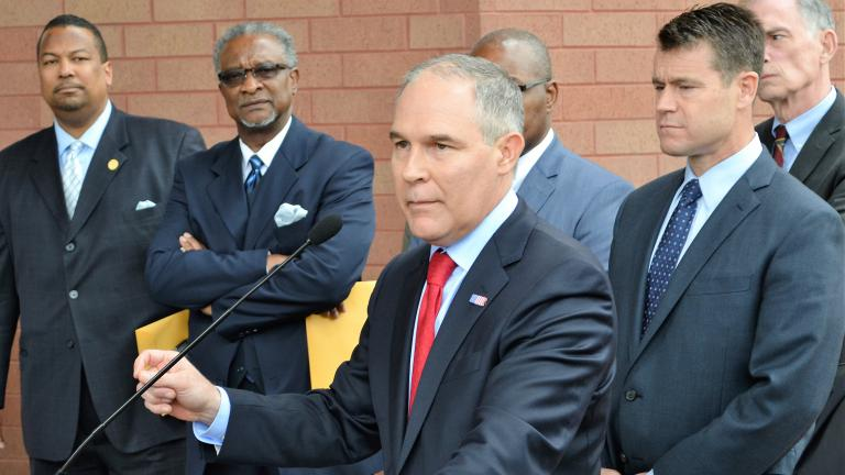 EPA Administrator Scott Pruitt speaks April 19 after meeting with residents of East Chicago's lead-contaminated neighborhoods. (Alex Ruppenthal / Chicago Tonight)