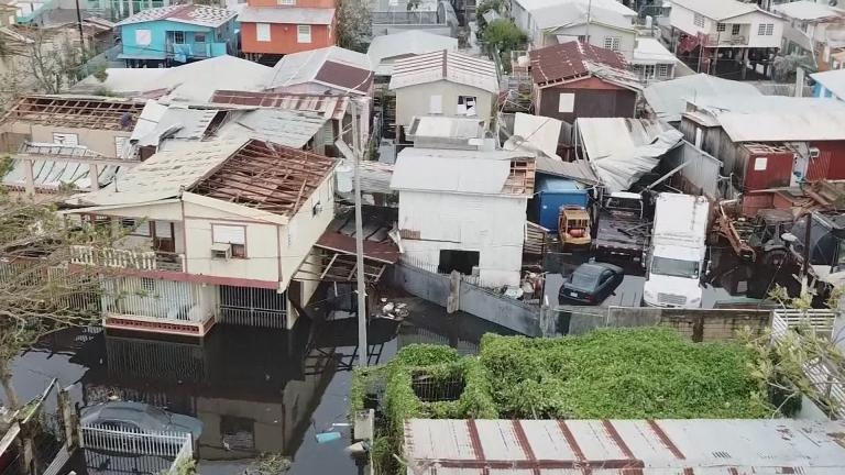 An overhead view of Puerto Rico in late September, following damage caused by Hurricane Maria.