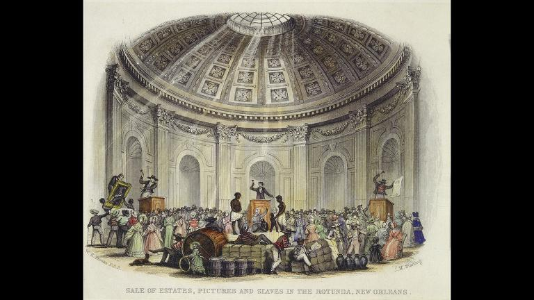 A watercolor engraving by William Henry Brooke from a slave auction in New Orleans, 1842 (Courtesy of The Historic New Orleans Collection)