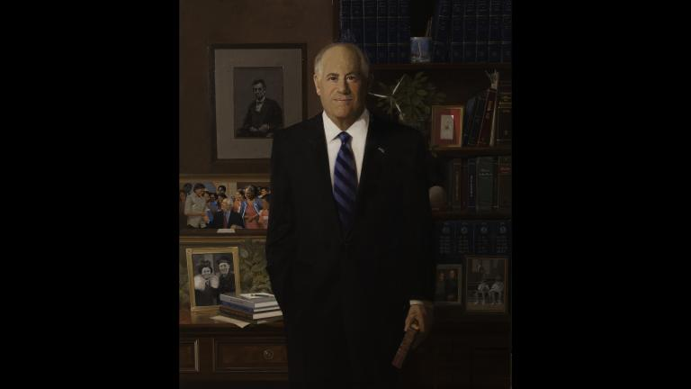Portrait of former Illinois Gov. Pat Quinn by artist William T. Chambers.