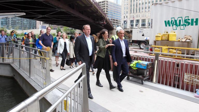 Mayor Rahm Emanuel leads a tour of a new section of the Chicago Riverwalk, which will be open to the public Saturday. (Courtesy City of Chicago)