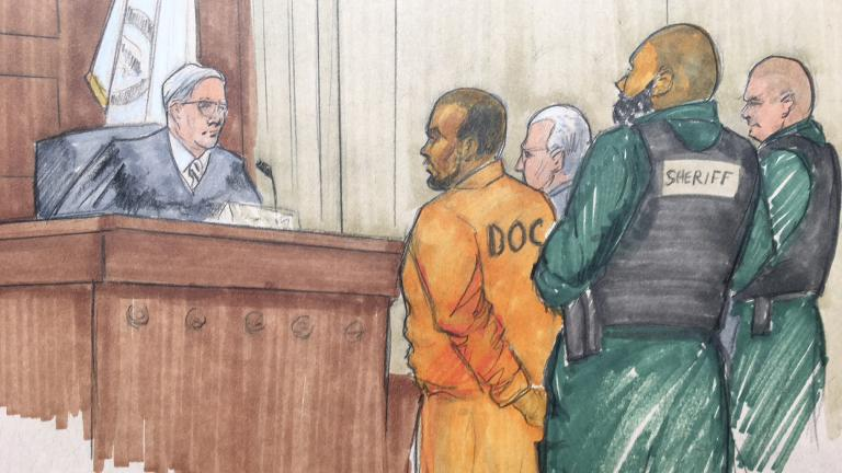 In this courtroom sketch, R&B singer R. Kelly appears before Cook County Associate Judge Lawrence Flood with his attorney Steve Greenberg on Monday, Feb. 25, 2019, at the Leighton Criminal Courthouse. (Credit: Tom Gianni)