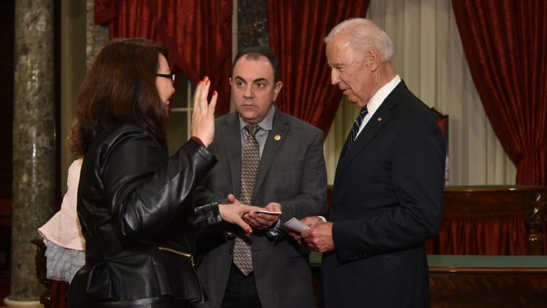 Tammy Duckworth (left) is sworn in as senator Tuesday.